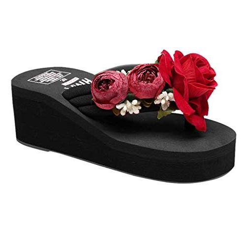 womens hand made floral wedges