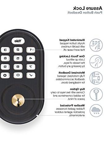 Yale Real Living Electronic Push Button Motorized Zwave Technology, Oil-Rubbed