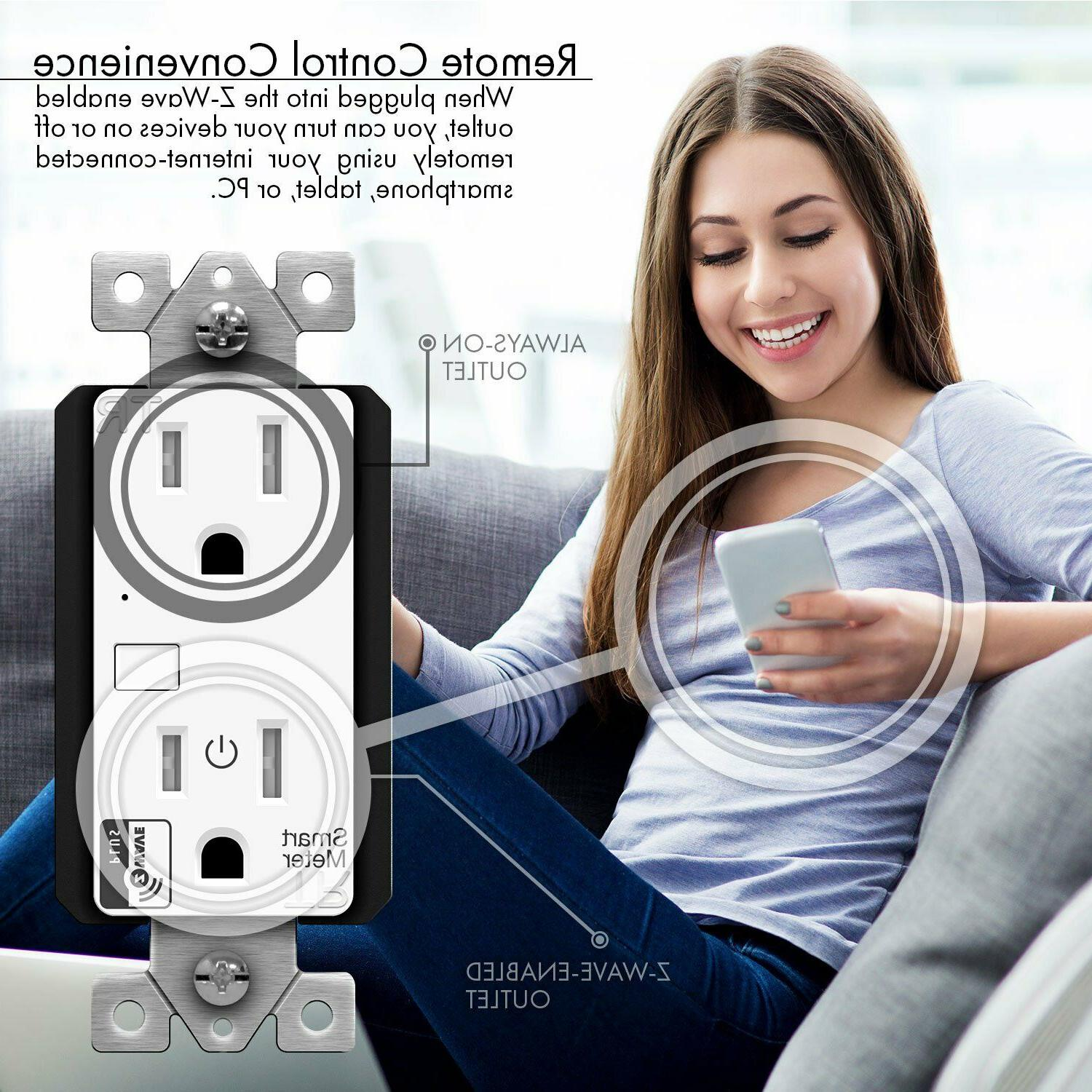 ENERWAVE Z-Wave Plus Wall Outlet with Smart Energy 2-Pack