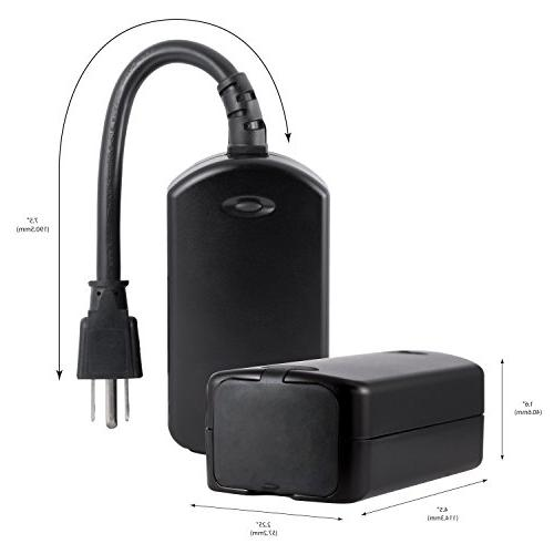 GE Enbrighten Z-Wave Outdoor Plug Built-in Hub Required, SmartThings, BLACK