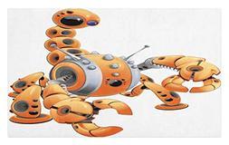 Lunarable Modern Doormat, Large Orange Scorpion Robot in Att
