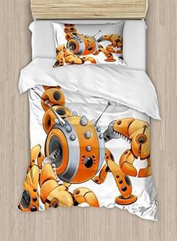 Lunarable Modern Duvet Cover Set Twin Size, Large Orange Sco