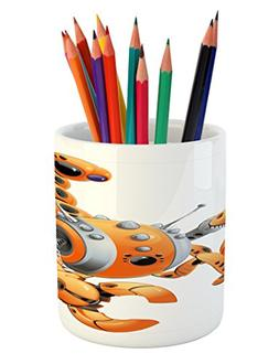 Lunarable Modern Pencil Pen Holder, Large Orange Scorpion Ro