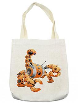 Lunarable Modern Tote Bag, Large Orange Scorpion Robot in At