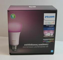 New Philips Hue White & Color Ambiance 4 Bulb Starter Kit Mo