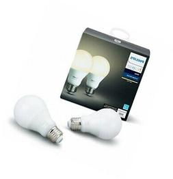 Philips Hue White 2-Pack A19 60W Equivalent Dimmable LED Sma