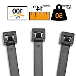 """BuyCableTies 14"""" Releasable Indoor/Outdoor Cable Ties - 50 l"""