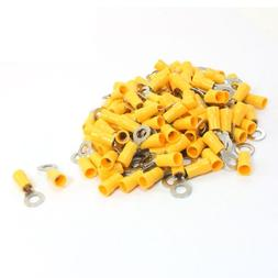 100Pcs RV5.5-6 Ring Tongue Pre Insulated Terminal Yellow for