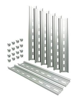 """Electrodepot Slotted Aluminum DIN Rail, 35mm x 8"""", Silver"""