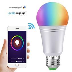 LED Smart Light Bulb, Wi-Fi Smart Bulbs E27 9W Dimmable Colo
