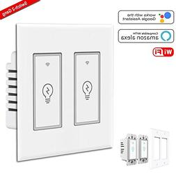 Smart Light Switch,2 Gang Wi-Fi Switch In-wall Wireless Swit