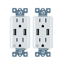GE 2pk 2-Pack 4 Amp High Speed Dual USB Charger Outlet, 15A,