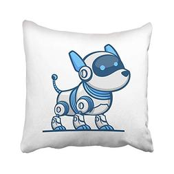 Emvency Throw Pillow Covers Cases Blue Technology Dog Robot
