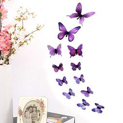 LiPing Wall Paper 3D 12 Pcs Butterfly Wall Stickers-Removabl