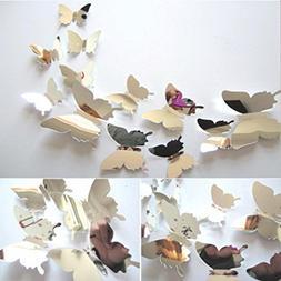 LiPing Wall Paper 3D DIY 12 Dancing Butterflies Wall Sticker