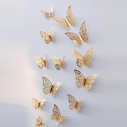 LiPing Wall Paper 3D Hollow Dancing Butterflies Wall Sticker