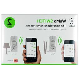 Wemo 2-Pack Switch, Wi-Fi Smart Plug, Control Lights and App