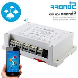 Sonoff Wi-Fi Smart Switch 4-Gang Din Rail Mounting, Compatib