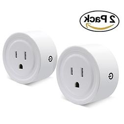Wifi Smart Plug Set of 2 Mini Smart Outlet Compatible with A