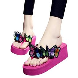 Womens Wedges Flip Flops Sandals, Summer Vintage Butterfly F