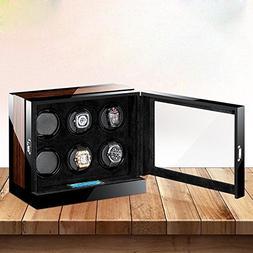 InnerTeck Wooden 6+0 Automatic Watch Winder Storage Box with